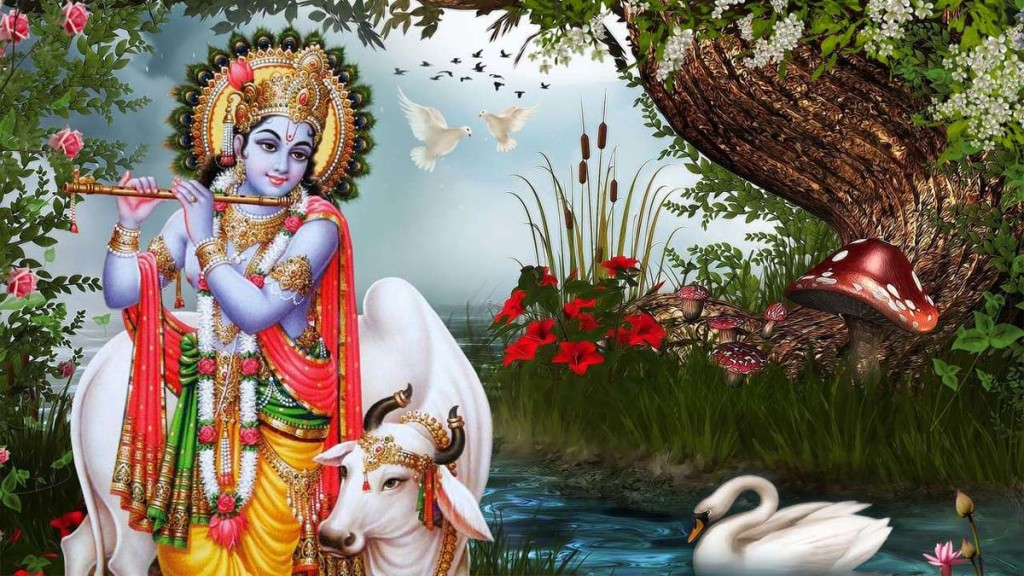 Lord Krishna Playing Flute Near River 1024x576