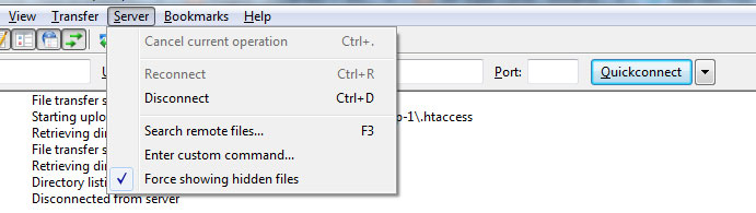 filezilla force show hidden files