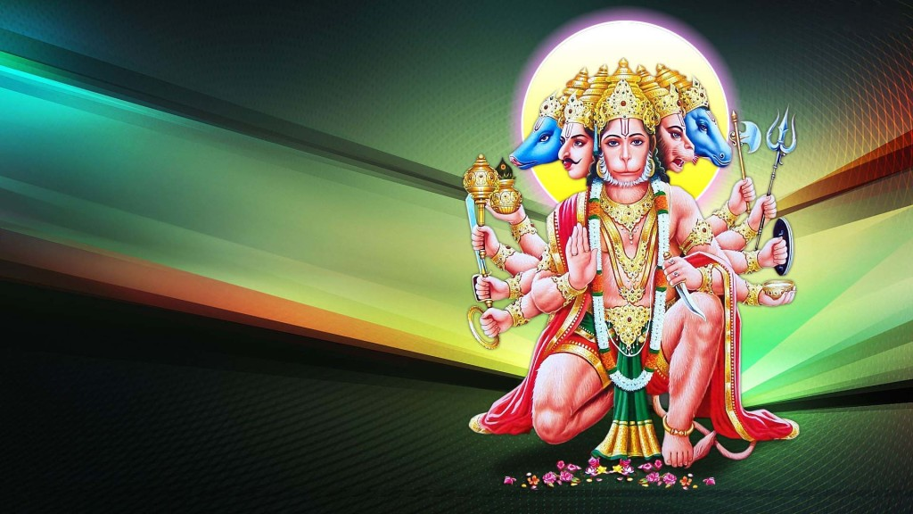 Panchmukhi Hanuman with lovely colorful background
