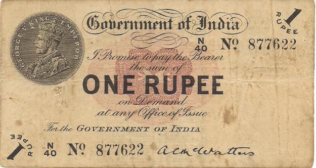 29. One Rupee Note holding the head of George V King Emperor.