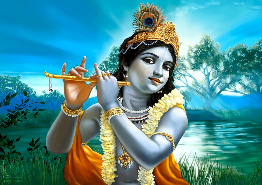 Krishna Painting with Flute hd - Beautiful Krishna Painting with Flute